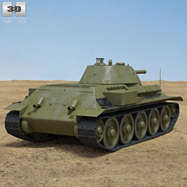 T-34 3d model back view