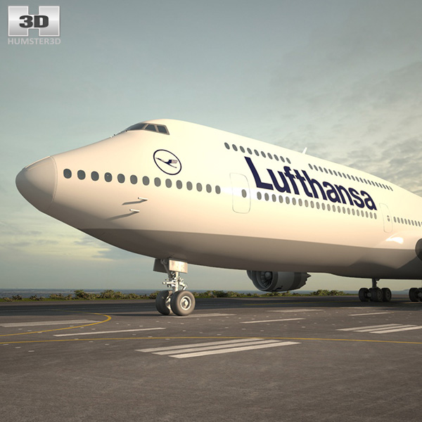 3D model of Boeing 747-8I Lufthansa