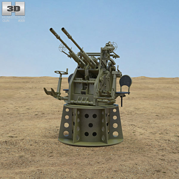 Type 96 25 mm Anti-aircraft Gun 3D model