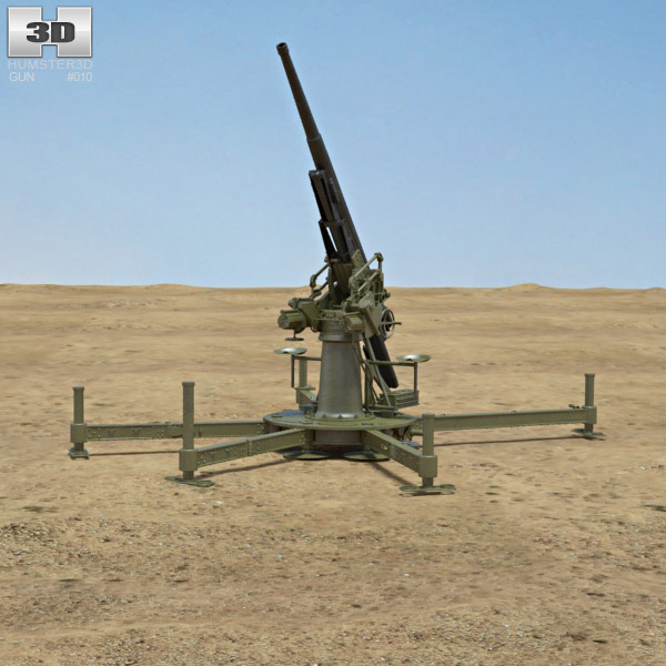 Type 88 75 mm Anti-aircraft Gun 3D model