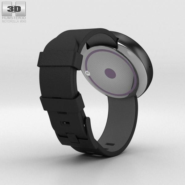 Motorola Moto 360 Dark Metal Case Black Leather Band 3d model