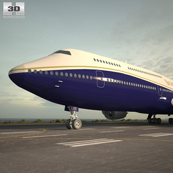 3D model of Boeing 747-8I Business Jets