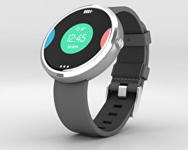 3D model of Motorola Moto 360 Light Metal Case Stone Gray Leather Band