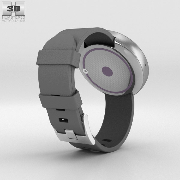 Motorola Moto 360 Light Metal Case Stone Gray Leather Band 3d model