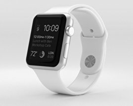3D model of Apple Watch Sport 42mm Silver Aluminum Case White Sport Band