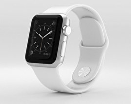 3D model of Apple Watch Sport 38mm Silver Aluminum Case White Sport Band