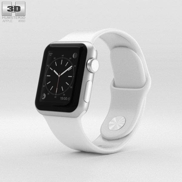 Apple Watch Sport 38mm Silver Aluminum Case White Sport Band 3D model