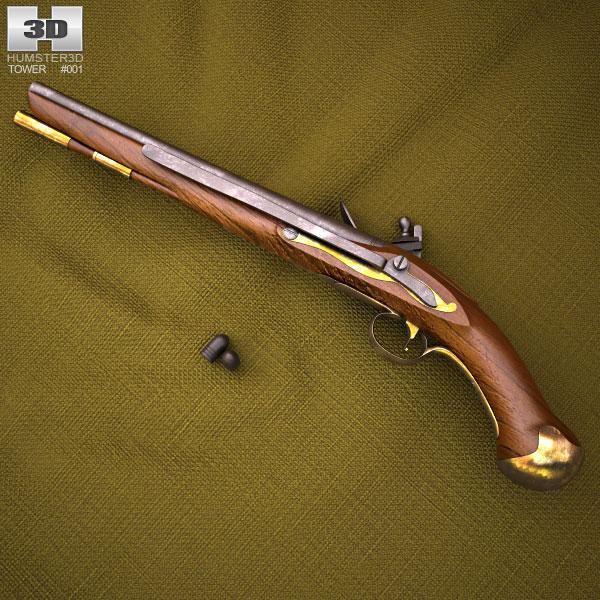 3D model of Flintlock Tower Sea Service Pistol
