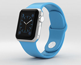 3D model of Apple Watch Sport 38mm Silver Aluminum Case Blue Sport Band