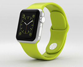 3D model of Apple Watch Sport 38mm Silver Aluminum Case Green Sport Band