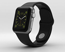 3D model of Apple Watch Sport 38mm Gray Aluminum Case Black Sport Band