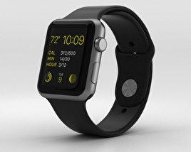 Apple Watch Sport 42mm Gray Aluminum Case Black Sport Band 3D model
