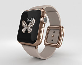 3D model of Apple Watch Edition 38mm Rose Gold Case Gray Modern Buckle