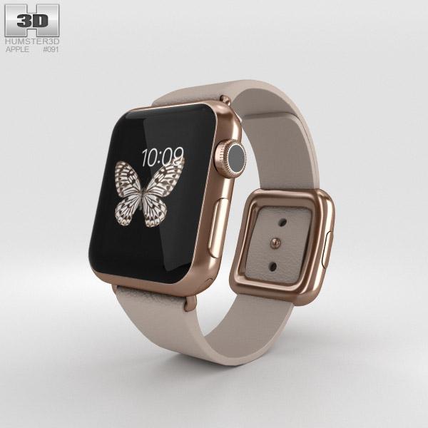 Apple Watch Edition 38mm Rose Gold Case Gray Modern Buckle 3D model