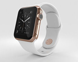 Apple Watch Edition 38mm Rose Gold Case White Sport Band 3D model