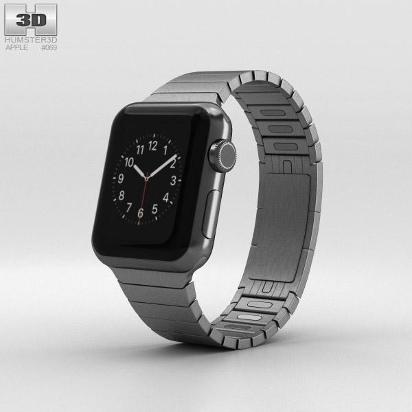 Apple Watch 38mm Black Stainless Steel Case Link Bracelet 3D model