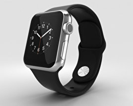3D model of Apple Watch 38mm Stainless Steel Case Black Sport Band