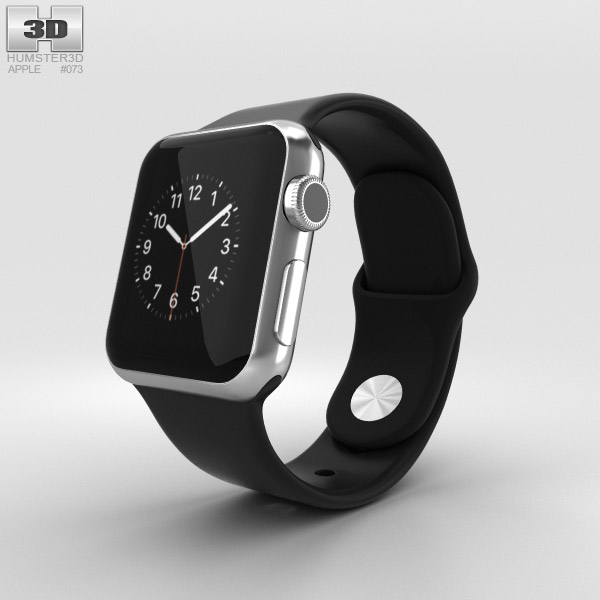 Apple Watch 38mm Stainless Steel Case Black Sport Band 3D model