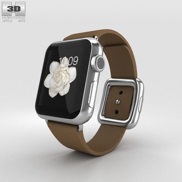 Apple Watch 38mm Stainless Steel Case Brown Modern Buckle 3D model