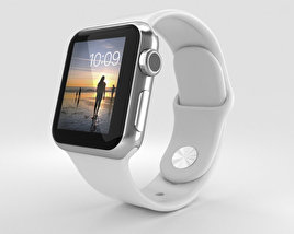 3D model of Apple Watch 38mm Stainless Steel Case White Sport Band