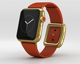 3D model of Apple Watch Edition 38mm Yellow Gold Case Red Modern Buckle