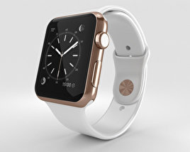 3D model of Apple Watch Edition 42mm Rose Gold Case White Sport Band