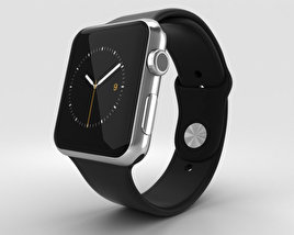3D model of Apple Watch 42mm Stainless Steel Case Black Sport Band