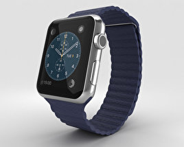 3D model of Apple Watch 42mm Stainless Steel Case Blue Leather Loop