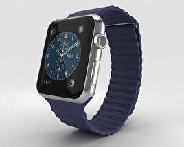 Apple Watch 42mm Stainless Steel Case Blue Leather Loop Modèle 3D