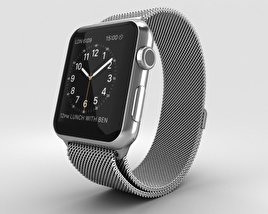 Apple Watch 42mm Stainless Steel Case Milanese Loop 3D model