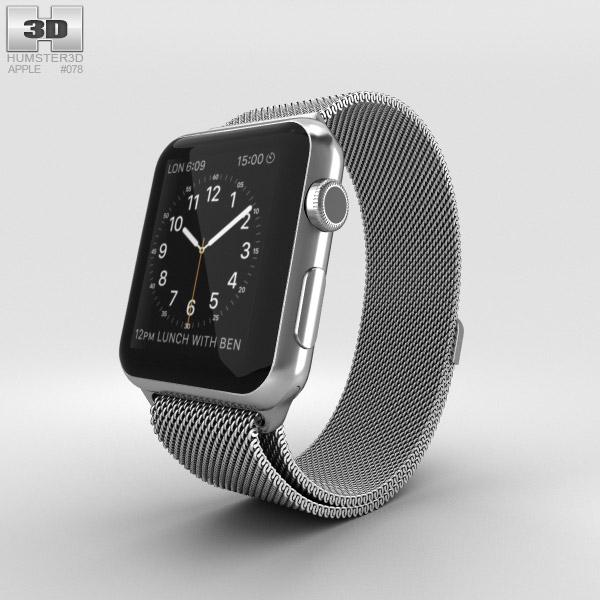 Apple Watch 42mm Stainless Steel Case Milanese Loop 3D model