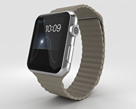 3D model of Apple Watch 42mm Stainless Steel Case Stone Leather Loop