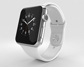 3D model of Apple Watch 42mm Stainless Steel Case White Sport Band