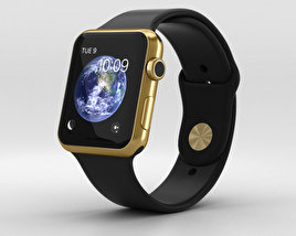 3D model of Apple Watch Edition 42mm Yellow Gold Case Black Sport Band
