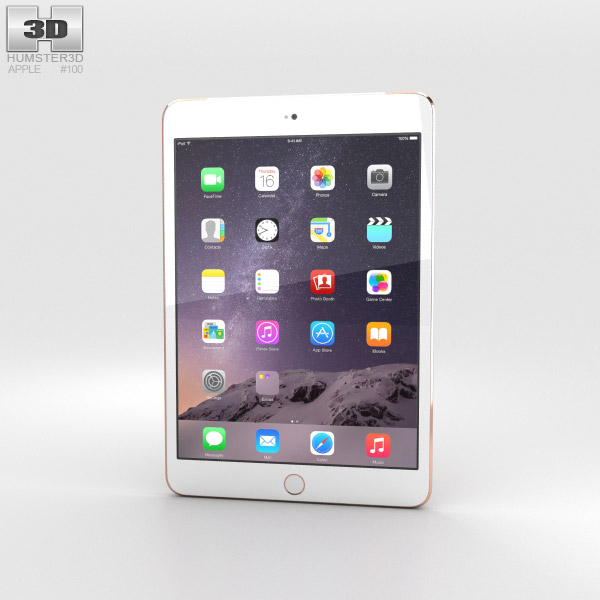 Apple iPad Mini 3 Cellular Gold 3D-Modell