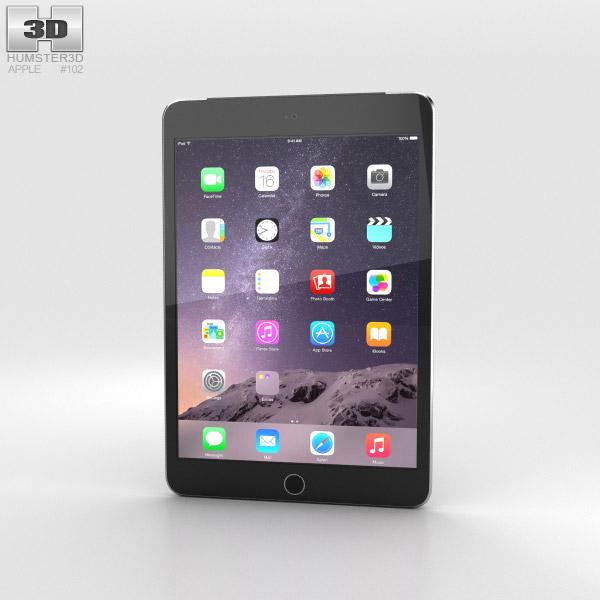Apple iPad Mini 3 Cellular Space Grey 3D-Modell