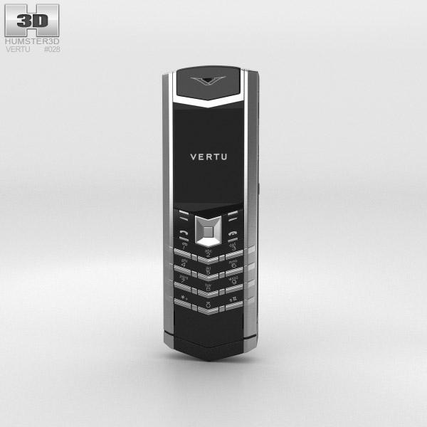 Vertu Signature Stainless Steel Black Leather 3D模型