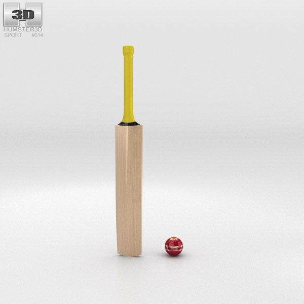 Cricket Bat & Ball 3d model