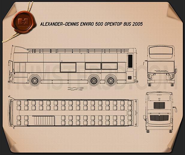 Alexander Dennis Enviro500 Open Top Bus 2005 Blueprint