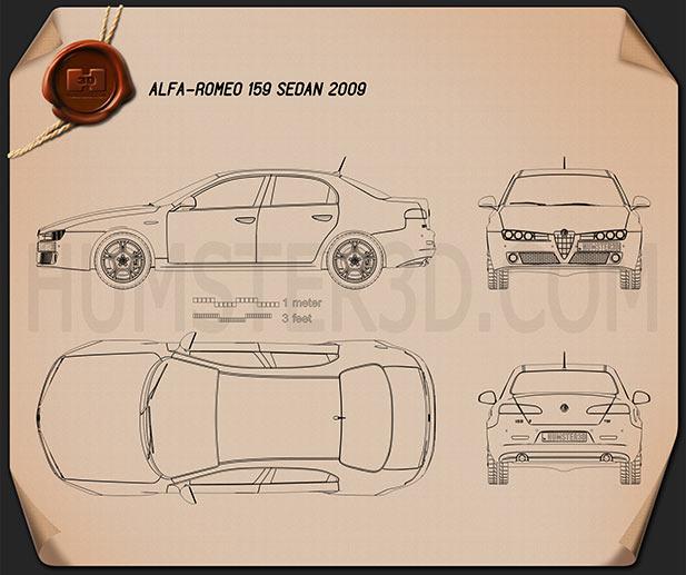 Alfa Romeo 159 sedan 2009 Blueprint
