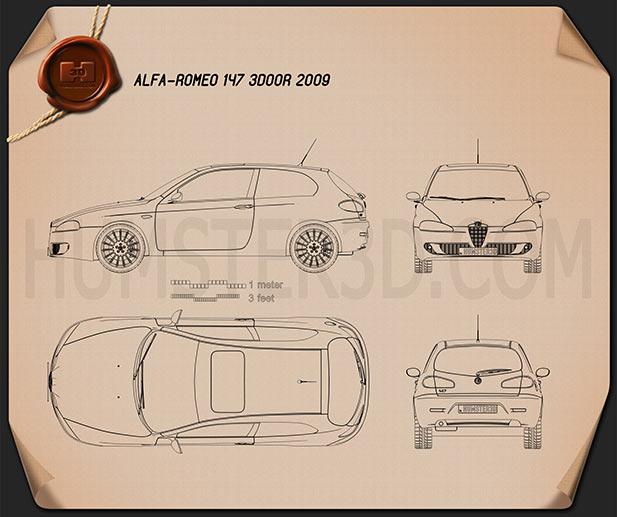 Alfa Romeo 147 3-door 2009 Blueprint