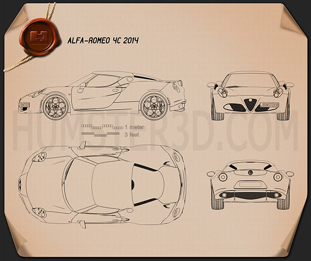 Alfa Romeo 4C 2014 Blueprint
