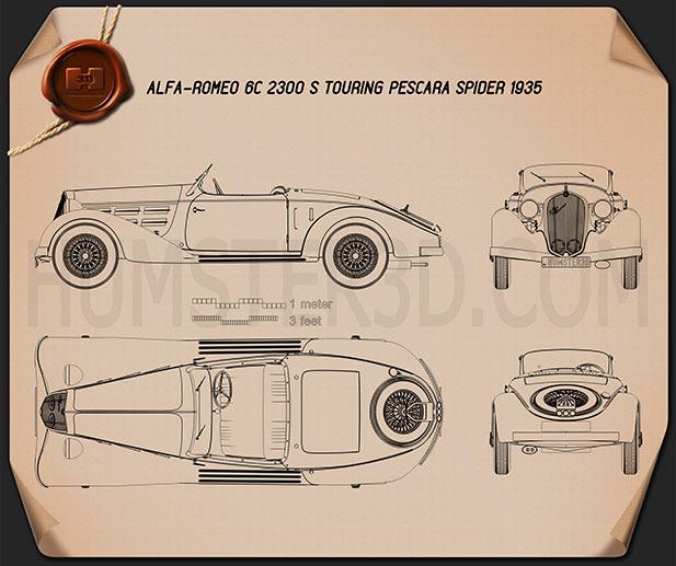 Alfa Romeo 6C 2300 S Touring Pescara Spider 1935 Blueprint