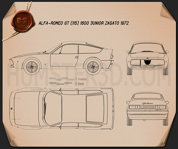 Alfa Romeo GT 1300 Junior Zagato 1972 Blueprint