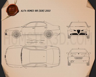 Alfa Romeo 166 2003 Blueprint