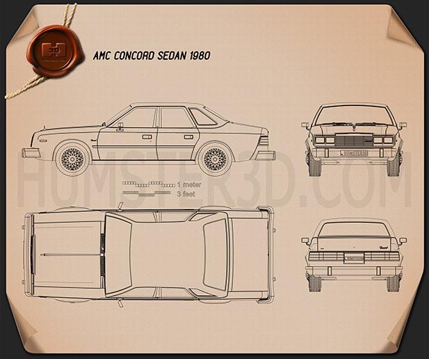 AMC Concord sedan 1980 Blueprint