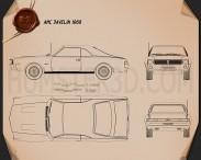 AMC Javelin 1968 Blueprint 3d model