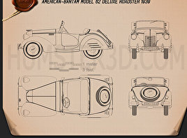 American Bantam Model 62 Deluxe Roadster 1939 Blueprint