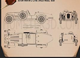 Classic car blueprint 3d models download hum3d aston martin 2 litre speed model 1939 blueprint malvernweather Choice Image