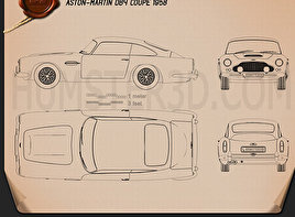 Aston Martin DB4 1958 Blueprint